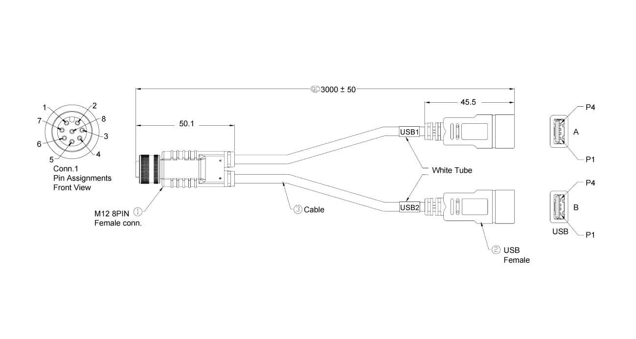 M12-2USB-300 Dimension
