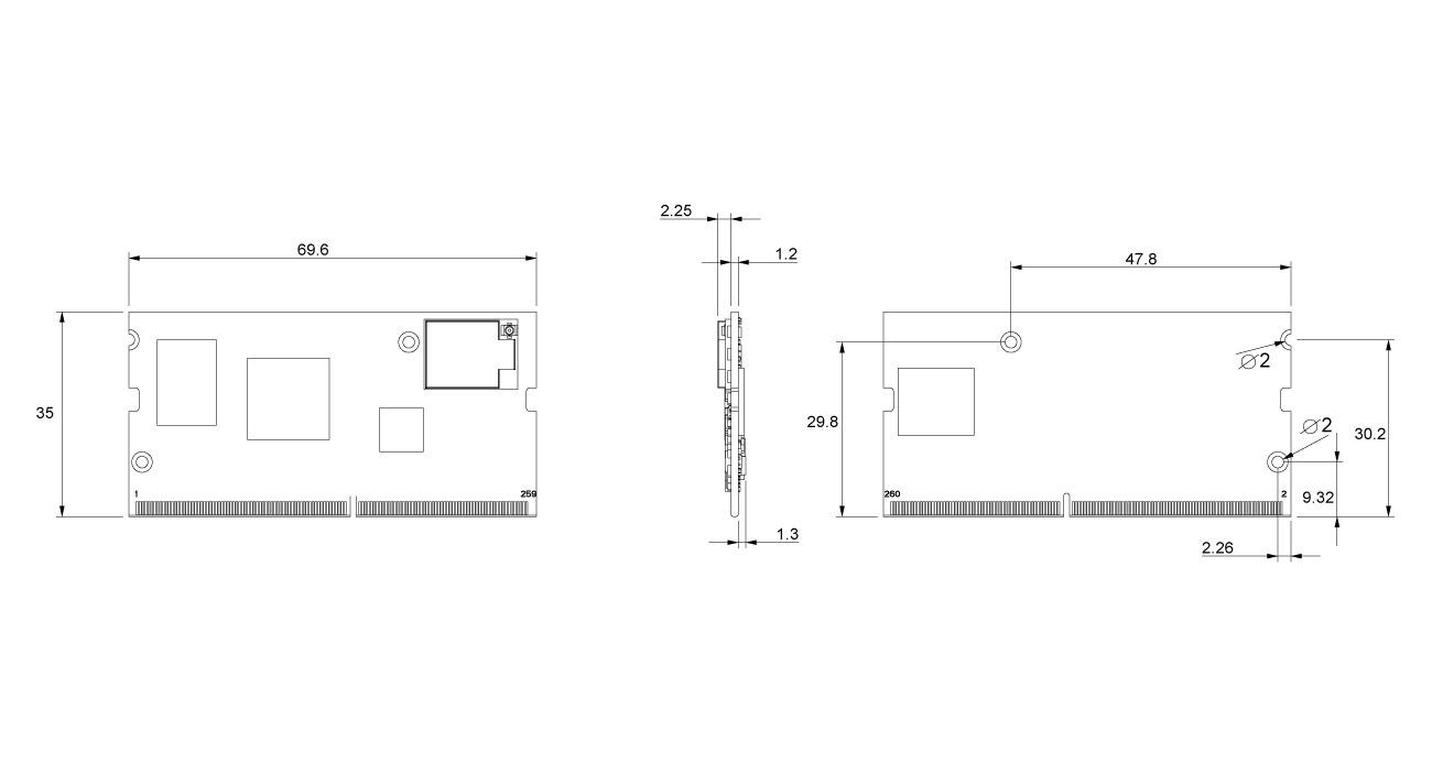 FLEX-IMX8M-MINI Dimensions